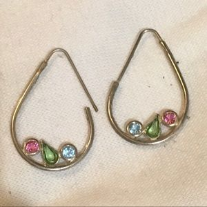 Tri stone teardrop earrings